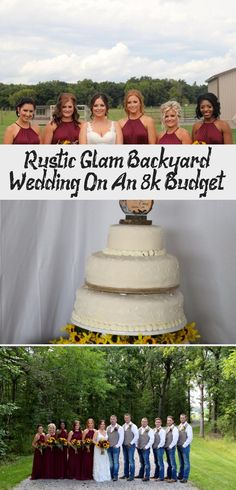 Rustic Glam Backyard Wedding | The Budget Savvy Bride | Wine bridesmaid dresses from David's Bridal | burgundy wedding | sunflower bridal bouquet #BridesmaidDressesNavy #AfricanBridesmaidDresses #BridesmaidDressesMismatched #ChampagneBridesmaidDresses #TealBridesmaidDresses
