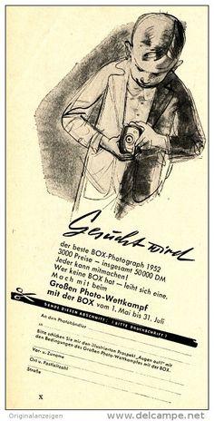 Original-Werbung/Anzeige 1952 - PHOTO-WETTKAMPF MIT DER BOX KAMERA - ca. 100 X 200 mm