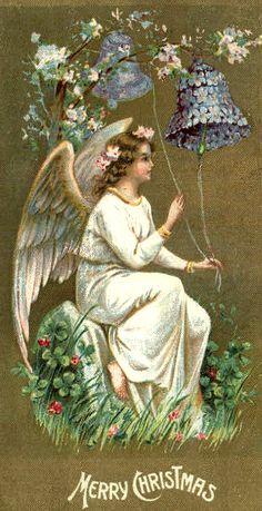 Vintage Angel Christmas Card ~ Violets