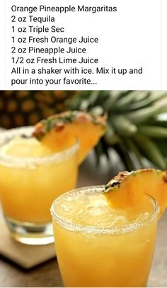 Drinks With Pineapple Juice, Pineapple Cocktail, Pineapple Margarita, Fresh Lime Juice, Tequila Drinks, Bar Drinks, Wine Drinks, Beverages, Mixed Drinks Alcohol