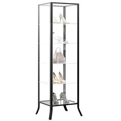 Curio Cabinet Display with Glass Door and Lock for Collectibles and Other Items to Showcase , Durable Black Steel Frame with Industrial to Contemporary Look - http://allfurniture.org/curio-cabinet-display-glass-door-lock-collectibles-items-showcase-durable-black-steel-frame-industrial-contemporary-look/