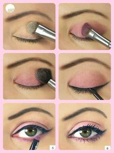 Maquillaje en tonos rosas.