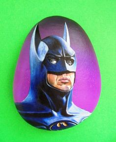 Hand painted Stone Batman Portrait by Lefteris Kanetis on Etsy