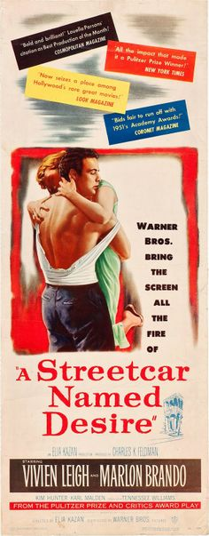 Directed by Elia Kazan. With Vivien Leigh, Marlon Brando, Kim Hunter, Karl Malden. Academy Award Winning Movies, Karl Malden, Kim Hunter, Movie Market, Streetcar Named Desire, Look Magazine, Cosmopolitan Magazine, Cult Movies, Movies