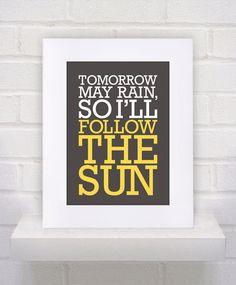 CUSTOM - I'll Follow the Sun - The Beatles Lyrics  - 5x7. $17.00, via Etsy.