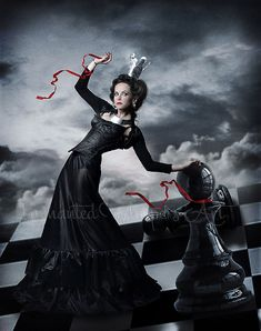 Chess Queen art,Queen of hearts,Fantasy Queen,Crown,chess board,checkers,beautiful Queen,Black Queen,Game,Surreal Artwork,Surreal painting