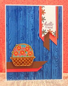 "A wood-themed hello card made with stamps from the ""Basket of Wishes"" set (Newton's Nook Designs) and ""Hardwood"" background stamp (Stampin' Up)."