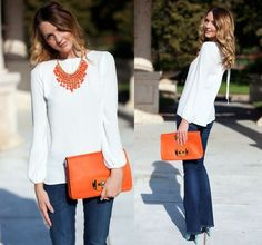 Peplum top, bell bottoms, orange/ pink purse, white statement necklace, or pink necklace