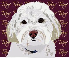 Custom pet portraits, dog portrait, dog art for pet owners www.alispawprints.com
