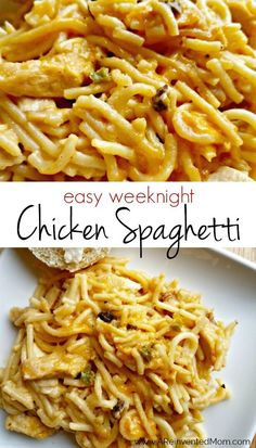 Who says comfort food can t be easy I ve simplified an ARM family favorite to make it perfect for busy weeknights Easy Weeknight Chicken Spaghetti A Reinvented Mom easychickenspaghetti easymeals pasta Huhn Spaghetti, Chicken Spaghetti Recipes, Easy Chicken Recipes, Chicken Spaghetti Casserole, Chicken Spagetti, Chicken Spaghetti Velveeta, Leftover Chicken Recipes, Weight Watchers Chicken Spaghetti Recipe, Casseroles With Chicken