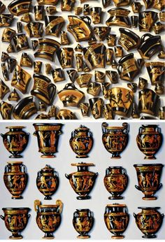 Lisa Milroy Objects from a museum; cultural treasures. Vases and fragments.