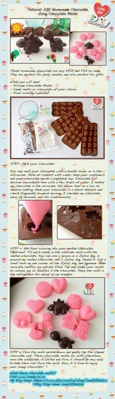 Tutorial: DIY Homemade Chocolate Using Chocolate Molds (Visit www.lovediy.ca)