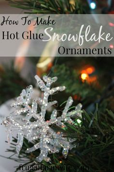 Hot Glue Snowflake Ornaments. These are so easy and quick + they only cost pennies to make! Endless possibilities for snowflake designs too. Love 'em!