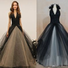 Inspired By Angelina Jolie Black And White Lace Wedding Dresses 2016 Ball Gown Handmate Flowers Tulle Halter Fashion Gothic Bridal Gowns Corset Ball Gown Wedding Dresses Wedding Ball Gowns 2014 From Bestdavid, $150.76| Dhgate.Com