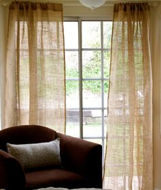 "Pair of Burlap Curtain Panel 40""x84""- shabby chic burlap - cottage beach- rustic curtains, would look perfect at the lake house"