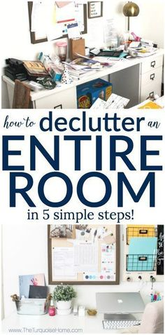 How to Declutter an Entire Room in 5 Simple Steps: My Organized Office | 30 Days to Less of a Hot Mess