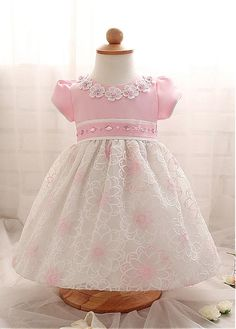 In Stock Amazing Satin & Lace Jewel Neckline Ball Gown Flower Girl Dresses With Rhinestones - Adasbridal.com