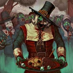 Zombie pilgrims Horror Cartoon, Funny Horror, Happy Turkey Day, Zombie Art, Werewolf, Seasons, Halloween, Artwork, Anime