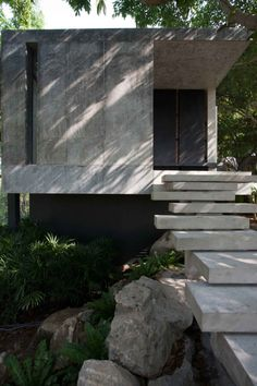 Love these stairs.  Hilltop House/Openbox Company. Concrete floating steps