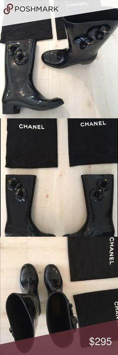 """Chanel Camellia rain boots Like new Chanel Camellia rain boots, but they have some """"scuff"""" marks from being rubbed together when walking (I initially didn't notice them since they can't really be seen when wearing, as only on inner sides of boot - see photos) Otherwise in great condition, as only worn a couple times on a vacation. Includes original dust bags. If you want more photos or have questions, send me a message :) CHANEL Shoes Winter & Rain Boots"""