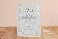 """""""Garden Romance"""" - Floral & Botanical, Rustic Foil-pressed Menus in Golden by carly reed walker. Something Borrowed, Something Blue, Wedding Stationery, Wedding Invitations, Maine, Dinner Menu, Special Occasion, Wedding Inspiration, Romance"""