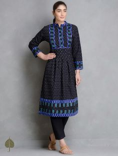 Black Blue Ivory Handloom Ikat Cotton Pleated Kurta
