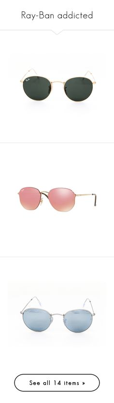 """Ray-Ban addicted"" by visiondirect ❤ liked on Polyvore featuring accessories, eyewear, sunglasses, gold, unisex sunglasses, pink lens sunglasses, uv protection glasses, pink sunglasses, mirrored glasses and round sunglasses"