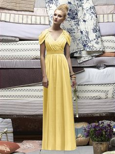 Yellow gown with vintage cap-sleeve