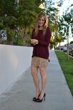 Discover this look wearing Sequined Zara Skirts, Miu Miu Shoes, H&M Sweaters - Go For The Gold by CasualGlamorous styled for Chic, Dinner Date in the Fall Gold Outfit, Holiday Party Outfit, Holiday Outfits, Holiday Parties, Burgundy Sweater, Loose Sweater, Gold Sequin Skirt, Sparkly Skirt, Love Clothing