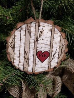 Custom wood burned white birch tree christmas ornament personalized with initials by BurnwoodCreations on Etsy