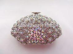 69.00$  Watch here - http://alirq5.worldwells.pw/go.php?t=32228624066 - 8251w WhiteAB Crystal SHELL floral flower Wedding Bridal Party Night Black hollow Metal Evening purse clutch bag case handbag