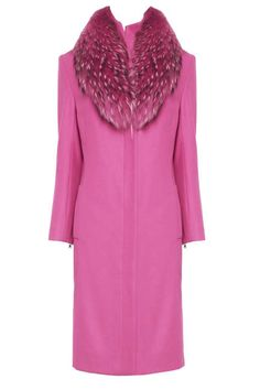 Pink Alice + Olivia Moss Tailored Coat With Furry Collar