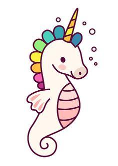 Cute sea horse unicorn with purple mane simple cartoon vector...