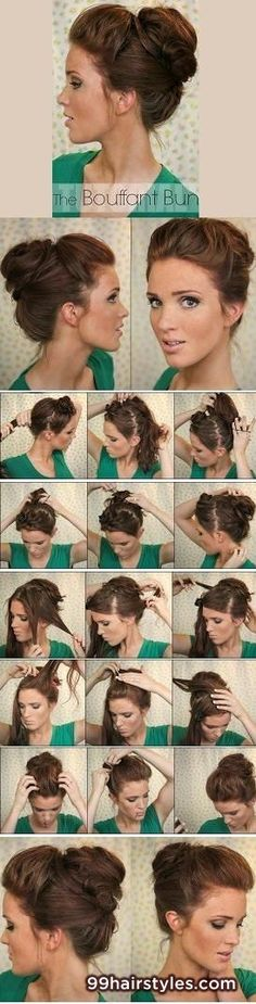 bouffant bun hairstyle tutorial - 99 Hairstyles Ideas