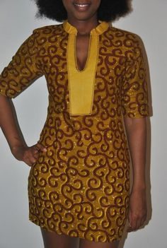 Beautiful authentic African print dress by IONBafricanstyles. A Northern heavily-embroided neck line would look exquisite on this. African Dresses For Women, African Print Dresses, African Attire, African Fashion Dresses, African Wear, African Women, African Prints, African Style, African Outfits