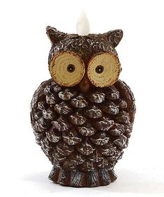 Another great find on #zulily! Pine Cone & Owl Battery Candle #zulilyfinds