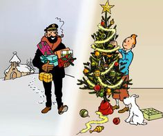 Christmas time with Tintin! Illustration Noel, Illustrations, Bd Comics, Funny Comics, Vintage Comics, Vintage Posters, Vintage Fox, Caricatures, Haddock Tintin