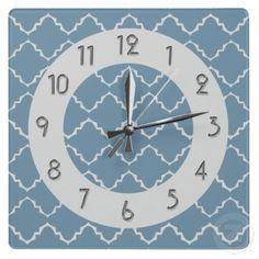 Elegant Quatrefoil Pattern - Lt Blue White Wall Clocks