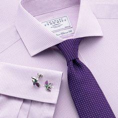Lilac mini gingham non-iron tailored fit dress shirt | Tailored fit dress shirts from Charles Tyrwhitt | CTShirts.com