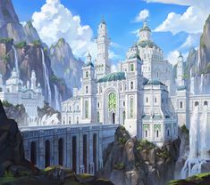 High Elf city White Castle Mountains ice by Ji Young Joo ArtStation Fantasy Magic, Fantasy City, Fantasy Castle, Fantasy Kunst, Fantasy Places, High Fantasy, Medieval Fantasy, Fantasy World, Fantasy Forest