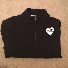 VS pink sweatshirt- no hood, quarter zip in front great and comfortable sweat shirt. great condition. Victoria's Secret Tops Sweatshirts & Hoodies