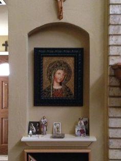 Our living room altar where we light candles. Altar Design, Church Design, Prayer Closet, Prayer Room, Home Altar Catholic, Home Photo Studio, Prayer Corner, Pooja Rooms, Altar Decorations