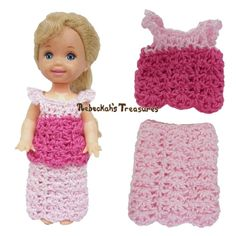 Simple Top 8 + Simple Skirt 10 ~ Pretty in Pink Free Crochet Pattern for Children Fashion Dolls by Rebeckah's Treasures
