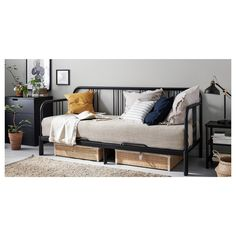 FYRESDAL Daybed with 2 mattresses - black/Minnesund firm - IKEA - folds out to a double wide Sofa Cama Ikea, Cama Murphy Ikea, Ikea Daybed, Daybed Room, Murphy Bed, Daybed Bedding, Sofa Beds, Bedding Sets, Bedding Decor