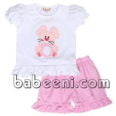 Cool bunny applique girl short set for Easter