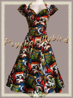 is this more you or me amber? haha 50s Rockabilly/Psychobilly Couture Pinup Horror Zombie Halloween Full Circle Swing Dress. $180.00, via Etsy.