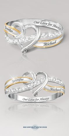When you find true love, your heart becomes wrapped in never-ending happiness and joy! That passion is celebrated with this personalized diamond ring. Provide us with your 2 names and we will engrave them for free across the bands. You can even visit our site to preview exactly how your names will look against the sparkling 12-diamond setting.
