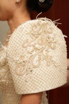 distinct sleeves of the Terno dress/baro't saya Philippines Outfit, Les Philippines, Philippines Culture, Philippines People, Philippines Fashion, Filipiniana Wedding Theme, Modern Filipiniana Dress, Wedding Gowns, Barong Wedding