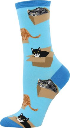 Feel as snug and precious as a cat in a box with these adorable crew socks!