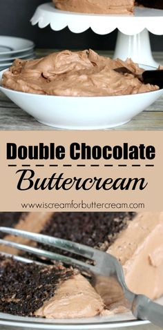 Double Chocolate Buttercream Double the chocolate means double the goodness. This buttercream is rich, creamy and super chocolaty. This recipe will make enough buttercream to cover a two layer, 8 inch round cake. Frosting Recipes, Cake Recipes, Dessert Recipes, Dessert Food, Just Desserts, Delicious Desserts, Yummy Food, French Desserts, Sweet Desserts